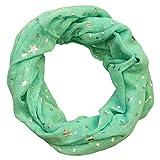 MANUMAR Loop-Schal für Damen   Hals-Tuch Mint-grün mit Sterne Motiv als perfektes Herbst Winter Accessoire   Schlauchschal   Damen-Schal   Rundschal   Geschenkidee für Frauen und Mädchen