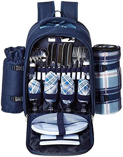 L&Z Canvas Picknick-Rucksack für 4 Personen/Tagesrucksack/ Rucksack mit Besteck, Geschirr,...