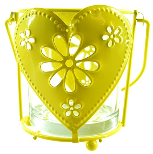 11 cm vidrio y amarillo Metal pintado con luz del té vela linterna/lámpara