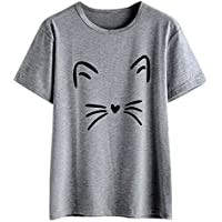 Mujeres Tops Rovinci Mujer Moda Cómodo Casual Manga Corta Lindo O Cuello Cat Impreso Casual Blusa