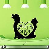 Tienda de mascotas Vinilo Tatuajes de pared Tienda de mascotas Perro Gato Arte Mural Etiqueta de la pared Salón de peluquería para mascotas Salón de la ventana Decora Tarjeta de color 85x85 cm