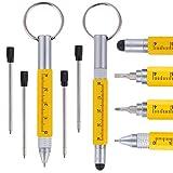 Shulaner 6 en 1 petits stylos à bille en métal outil de technologie, porte-clés, règle, stylet et tournevis à deux têtes, outil multifonctionnel convient pour le cadeau de pères hommes, 2 pièces jaune
