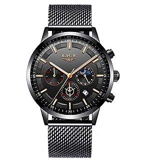 SUNWH-Herren-Armbanduhr-wasserdicht-analog-Quarz-einfach-modisch-leger-schwarz-klassisch-Netzstoff-Datumsuhr