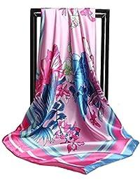 4ecce66b3d7 SUNSKYOO Femme Châle Imitation Soie Pic Papillon Fleur Peinture À l huile À  La Mode