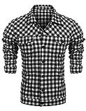 Burlady Hemd Herren Kariert Langarm Trachtenhemd Karohemd Stickereien Freizeit Männer Shirt (M, Schwarz-Flanell)