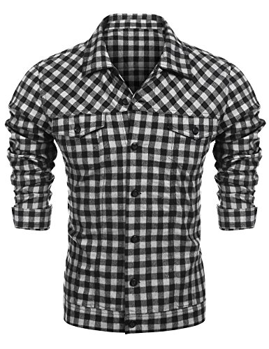 Burlady Herren Freizeit Hemd Kariert Drucken Kontrast 100% Baumwolle Trachtenhemd schwarz L -