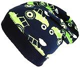 Wollhuhn Beanie-Mütze in dunkelblau mit Traktoren in grün, für Jungen und Mädchen, 20170806, Größe M: KU 51/53 (ca 3-5 Jahre)