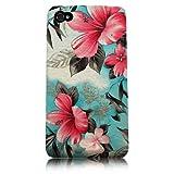 Xtra-Funky Esclusivo Blu e Rosa floreale fiorito Stampa Caso plastica gommosa strutturato dura per Apple iPhone 4 / 4S - ( Progettazione F6 Blu & Rosa)
