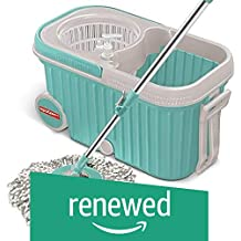 (Renewed) Spotzero by Milton Elite Spin Mop with Bigger Wheels & Auto Fold Handle for 360 Degree Cleaning (Aqua Green, Two Refills)