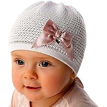 Mütze Baby Mützchen Weiß Taufe Schleife Erstlingsmütze Mützchen Frühchen ab 0Mon