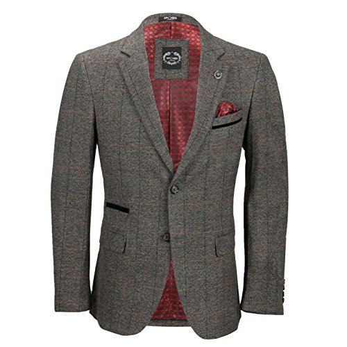 Xposed Vintage Mens 3 Piece Grey Tweed Check Suit Blazer Waistcoat Trouser Sold as Tailored Separates