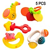 #7: 5 PCS Lovely Colourful Rattle Toys For Toddler Based on theme of Sound Shaking For Baby/Toddler/Infant/Child Pack Of 5