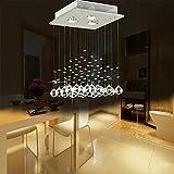 Lightsjoy LED Kristall Deckenleuchte Kronleuchter Modern Glas Hängend Lampe Lüster Pendelleuchte Kristallleuchter quadratisch 3 Leuchten für Wohnzimmer Schlafzimmer Esszimmer Flur Esstisch Küche Hotel usw.