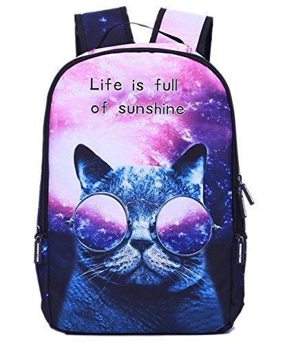 BAGHOME Bag Home Cartoon Animal Print Lightweight School Backpack Laptop Bag Galaxy Cat