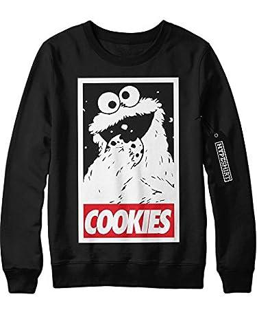 Sweatshirt Cookie Monster Cookies Sesame Street Hipster Sesam Straße Keks C980015 Schwarz M