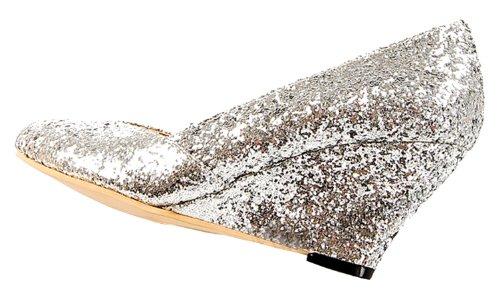 Honeystore Damen's Wedge Pailletten Stoff Absatzschuhe Silber