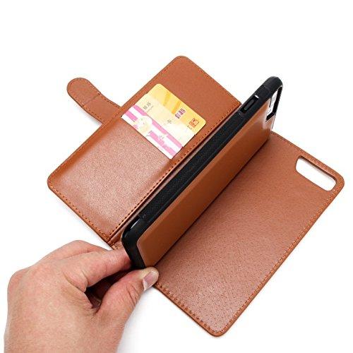 Hülle für iPhone 7 plus , Schutzhülle Für IPhone 7 Plus, große Menge Solid Color Leder Tasche Tasche mit Reißverschluss mit abnehmbarer Rückenabdeckung ,hülle für iPhone 7 plus , case for iphone 7 plu Brown