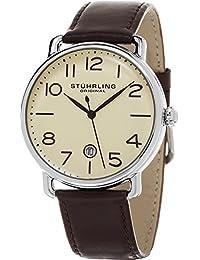 Stuhrling Original Man - Reloj de cuarzo, para hombre, con correa de cuero, color marrón