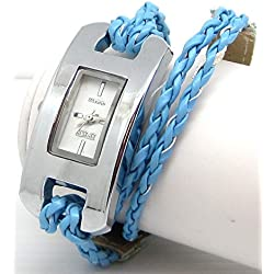 Ladies Oblong White Faced Watch with Blue Plaited Multi Stranded Strap