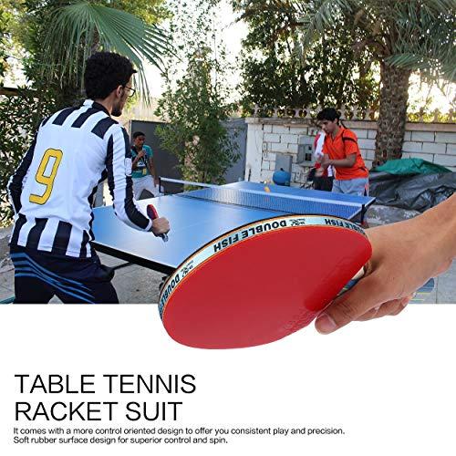 Lorenlli Fit Double Fish Outdoor Indoor Sports Tischtennisschläger mit Ping-Pong-Bällen Portable Durable Ping-Pong-Paddel-Set