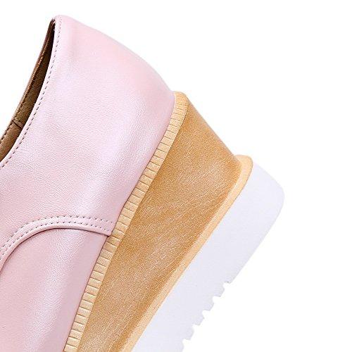 AllhqFashion Femme Couleur Unie Pu Cuir à Talon Correct Carré Lacet Chaussures Légeres Rose