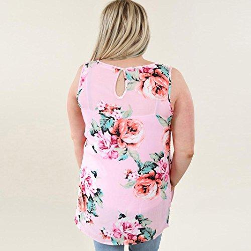 HARRYSTORE Frauen Beiläufige Sleeveless Blumen Gedruckte Ernte Oberseiten Behälter Hemd Blusen Weste Rosa
