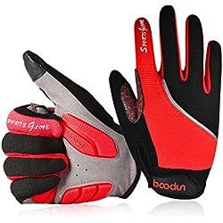 Youngdo Guantes de Ciclismo MTB para Hombre y Mujer Absorbentes Otoño Dedo Completo con Almohadilla Compatibles con la Pantalla Táctil del Teléfono (Rojo L 21 - 23cm)