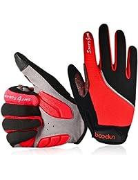 Youngdo Guantes de Ciclismo MTB para Hombre y Mujer Absorbentes Otoño Dedo Completo con Almohadilla Verano Compatibles con la Pantalla Táctil del Teléfono (Rojo M 19 - 21cm)