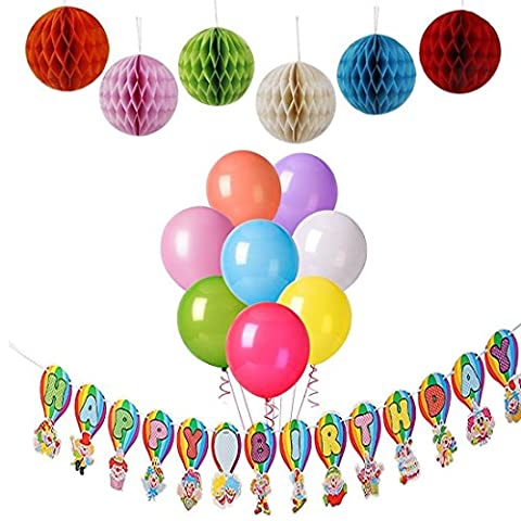 iLoveCos Happy Birthday Banner Party Decorations Ballons Lanterns Set for Boys Girls Adults with Tissue Lanterns Flower Pom Poms
