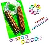 19 Stück 2mm - 12mm, 60cm Rundstricknadeln aus Karbonisiert Bambus, Maschenmarkierer 20 Stück und Nähnadeln Set in Kunststofftasche