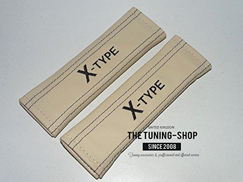 2x cintura di sicurezza coperture pastiglie beige pelle 'X-Type nero ricamo