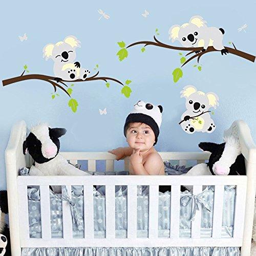 BDECOLL Koala-Baum Wandsticker-baum wandtattoo wandaufkleber-Vinylwand Aufkleber WandKunst für Kinderzimmer Dekoration (Koala Baum)