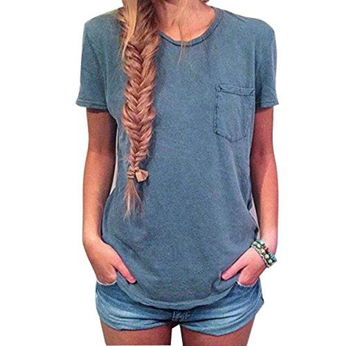 LSAltd Damen Sommer feste Taschen Hemd Kurzschluss Hülsen beiläufiges Blusen Oberseiten T-Shirt (Blau, L) (Kostüme Womens Tshirt)