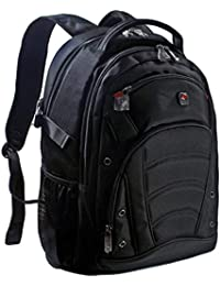 Seagull Black Laptop Backpack for up to 17.3 inch laptops/1680D High Quality Fabric/Hold up to 30KG/Foam Shock Resistant Laptop Compartment/100% Money Back Guarantee/All Black