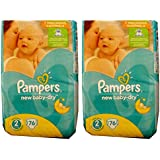 152 (2 x 76) couches Pampers Baby Dry taille 2, 3–6 kg, coton doux