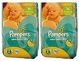 152 (2x76) Pampers Windeln New Baby-Dry Gr. 2, 3-6 Kg, Baumwolle weich