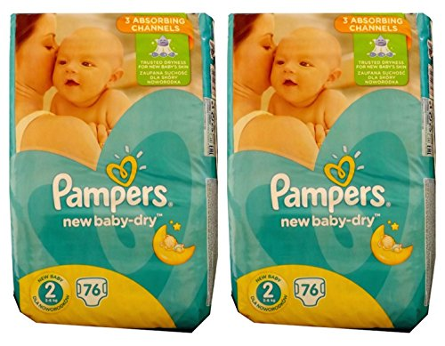 152 (2 x 76) couches Pampers Baby Dry taille 2, 3-6 kg, coton doux