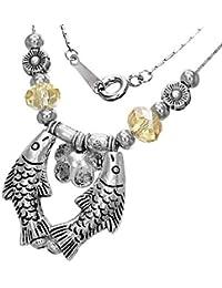 Fashion Kristall Bead Kugel Doppel Fisch Charm Halskette