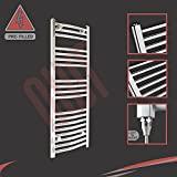 """400mm (w) x 1000mm (h) """"Fixed Temperature """"250W Curved Chrome Electric Towel Rail, Horizontal Bar Thickness: 22mm, Bar pattern: 3 + 4 + 4 + 8, (PRE-FILLED with heating solution)"""