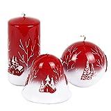 Rojas velas velas de Adviento Navidad Noche de Velas Sagrada Juego de 3en Color Rojo