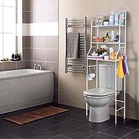 Nyana Home   Estantería de Baño sobre Inodoro   3 Alturas   Soporte para Papel WC   Soportes para Toallas   Resistente a Agua y Polvo   Patas ajustables en Altura (Blanco)