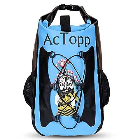 AcTopp Sac à Dos Étanche Sac Imperméable Waterproof Sac Pliable Sport Sac de Voyage pour Randonnée Pêche/Camping/Excursion/Sport en Plein Air Grande Capacité 35L(Bleu)