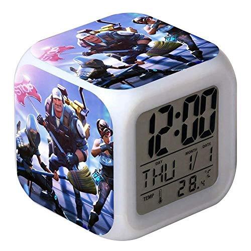 7 Colores LED Fortnite Digital Despertador LCD Muestra Hora, Fecha, Temperatura Mejor Regalo para Los Niños Cumpleaños Navidad o Amantes de los Juegos