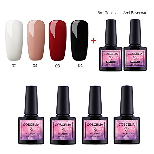 Vernis Gel Semi Permanent Gel UV Vernis à Ongles Soakoff Lot de 4pcs Gel Polish Kit Manucure Plus Top et Base Coat Pour Ongle 8ml Débutant Kit Couleurs Classique