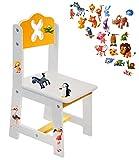 Unbekannt 1 Stück _ Stuhl für Kinder - aus sehr stabilen Holz -  lustige Zootiere - weiß / gelb  - Kinderstuhl - Beistellstuhl - Kindermöbel für Jungen & Mädchen - Ki..