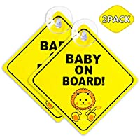 Acehome 2 Pack Baby On Board Sign For Car With 4CM Bigger Suction Cup, Baby on Board Safety Warning Sticker, Removable Cute Diamond Shape Little Lion Design