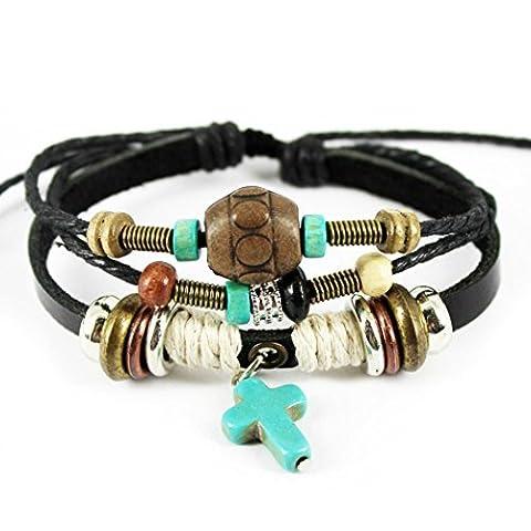 Plus de Fun Turquoise Pendentif Croix Noir fait à la main Cuir Wrap Bracelet, réglable