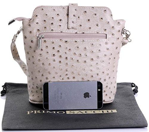 Italienisch Weichleder, Kleine Cross Body oder Umhängetasche Handtasche. Enthält eine Schutzaufbewahrungstasche. Beige