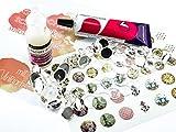 Vintageparts Schmuckzubehör Cabochonset Vintage für Einsteiger in silberfarben mit über 50 Teilen: Cabochons, Rohlinge, Kleber, Ringrohlingen und Motiven zum DIY Ohrstecker und Ringe Schmuck basteln