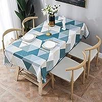 Essort Rectangle Mantel para Mesa PVC Hule Mantel Cuadrado para Comedor, Impermeable y Prueba de Aceite Geométrico 137 x 185 cm